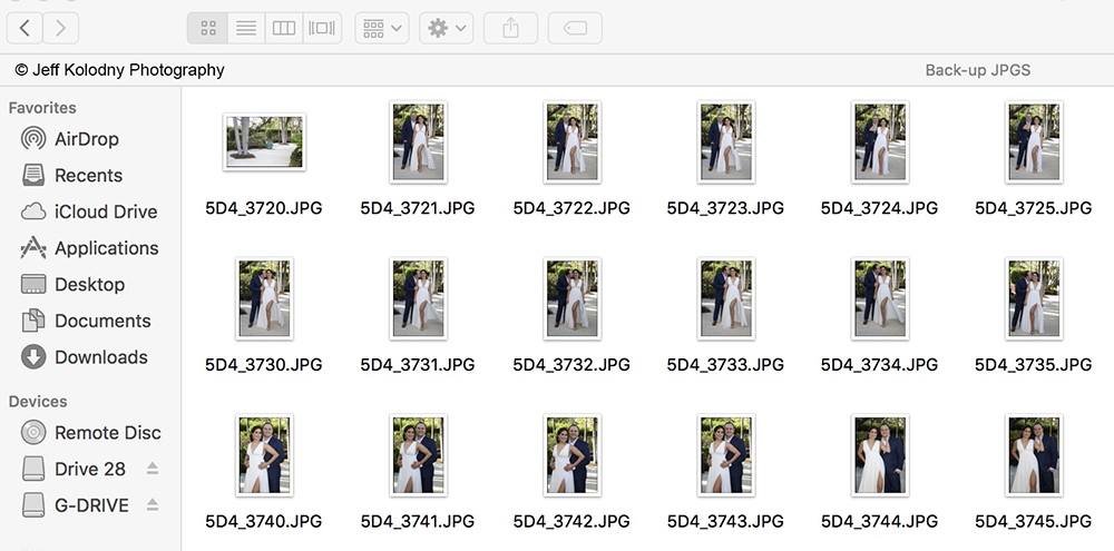 Screen grab of Canon jpg files for an article on SEO picture use